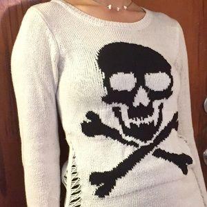 Cream Skull & Crossbones Distressed Tunic Sweater